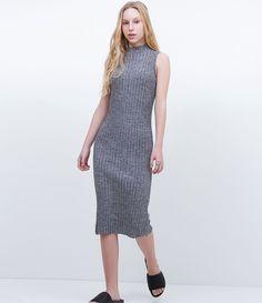 aa121a582e Vestido feminino Sem mangas Gola alta Canelado Marca  Blue Steel Tecido   malha retilínea Composição