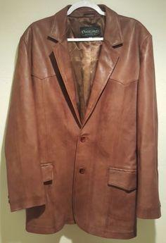 Overland Sheepskin Co. Men's Brown Leather Jacket Western Blazer Size 44 Vintage