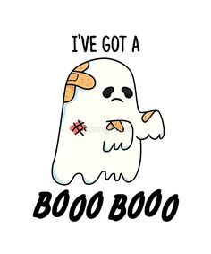 """Aww poor little ghost has a Boo Boo. """"Boo Boo Halloween Pun"""" by punnybone Funny Food Puns, Cute Jokes, Cute Puns, Funny Doodles, Cute Doodles, Halloween Puns, Cute Halloween Drawings, Halloween Quotes, Cheesy Puns"""