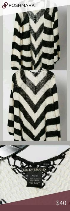 """Lucky Brand Alpaca blend, instructed sweater XS Black & White chevron patterned instructed cardigan sweater. Open front. Loose knit. Alpaca blend.  Very soft, loose, draping sweater for jeans and t-shirt or layering over another sweater. Length 30.5"""", sleeve lgth 26"""",  Very good condition. No damage, or major wear.  Remember alpaca, mohair, so on sweaters have a thin and thick strands, also hairs. This is the style of this fabric. Alpaca 58%, Acrylic. Lucky Brand Sweaters Cardigans"""