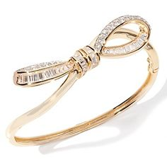 Bow-Design Pavé Bangle Bracelet