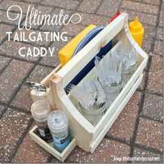 Show up to the game with my Ultimate Tailgating Caddy! Everything you need for the perfect tailgate BBQ! Scrap Wood Projects, Woodworking Projects, Diy Projects, Utensil Caddy, Table Caddy, Table Tray, Football Tailgate, Football Parties, Football Stuff