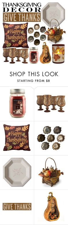 """""""Give Thanks"""" by kgez ❤ liked on Polyvore featuring interior, interiors, interior design, home, home decor, interior decorating, Holiday Memories, Barker, Tag and Home Decorators Collection"""