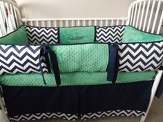 Navy Chevron and kelly green bedding Crib set by abusymother, $50.00