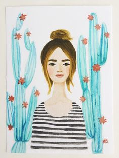 Print of Cactus girl original watercolor and by OliveTwigStudio