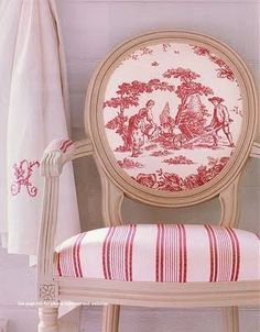 Idea for my French chairs & Fragonard toile fabric: Toile fabric on chair back & coordination striped fabric on seat.