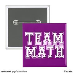 Purple and White Team Math Pinback Button