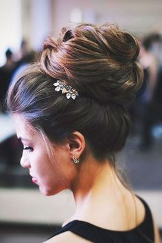 Simple bridal hairstyle- oversized high bun ~~~ 45 Glamorous Wedding updos for long and medium hair