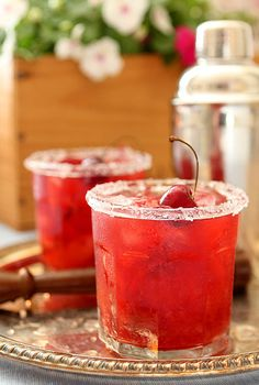 Combining the best of an Old Fashioned and a fruit smash, we loved t his Cherry Old Fashioned Smash.