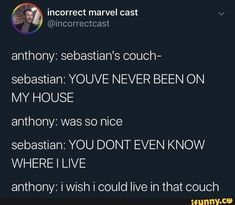 Can you imagine sleeping on sebbys couch😢 Thank you 3000 for all of your support. I love you guys Funny Marvel Memes, Avengers Memes, Marvel Jokes, Avengers Superheroes, Marvel Avengers, Marvel Comics, Sebastian Stan, Rober Downey Jr, Marvel Actors