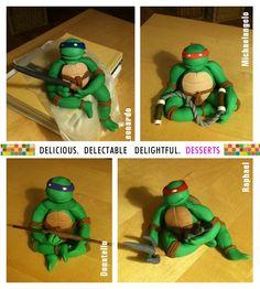 TNMT Ninja Turtles Fondant Figures Cake by 3d_desserts