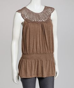 Take a look at this Simply Irresistible Brown Crocheted Yoke Top on zulily today!