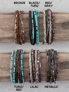 Braided horse hair accented with beads or crystals that wrap around your wrist for that trendy layered look. Lobster claw clasp, measure Your choice of Turquoise and Black, Turquoise, Red and Chestnut, Bronze or Metallic. Hair color will vary slight Horse Hair Bracelet, Horse Hair Jewelry, Cowgirl Outfits, Cowgirl Clothing, Cowgirl Fashion, Gypsy Cowgirl, Cowgirl Style, Country Girl Style, Country Girls