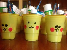 Pokemon party favors, my kids drew the faces!