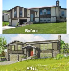 New updated look for this split entry house - Facelifts for Homes