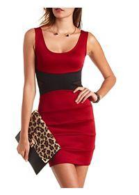 Mesh Cut-Out Color Block Bodycon Dress