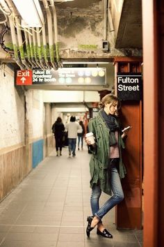 Fulton Street Subway Station waiting for the train (in gown)