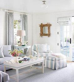 Sophisticated and whimsy meet in this living room! http://www.bhg.com/decorating/decorating-photos/living-room/carefree-and-chic/?socsrc=bhgpin012615carefeeandchic&living-room