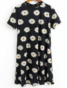 Black Short Sleeve Floral Ruffle Dress pictures
