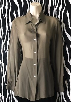 Delicate silk georgette, delicate hue of olive green that comes to live with either gold or silver accents. A dreamy shirt! Vintage Designer Clothing, Vintage Blouse, Olive Green, Vintage Outfits, Delicate, Silk, Sleeves, Shirts, Beautiful