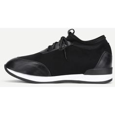 SheIn(sheinside) PU Panel Lace Up Trainers (400 MAD) ❤ liked on Polyvore featuring shoes, sneakers, black, laced up shoes, black lace up shoes, black lace up sneakers, black sports shoes and lace up shoes