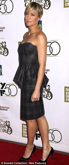 Robin Wright's peplum dress for the 50th New York Film Festival October 2012