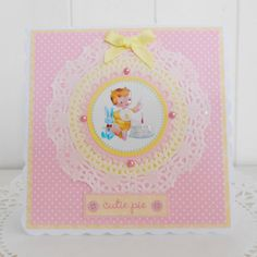 Baby Girl's 1st Birthday Card by picocrafts on Etsy, $3.50