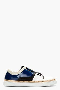 GIULIANO FUJIWARA White & BLUE Patent Irregular-paneled SNEAKERS