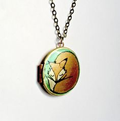 little sleeping fox locket    Fox Locket Necklace/ orange and green original by Locketfox, $32.50