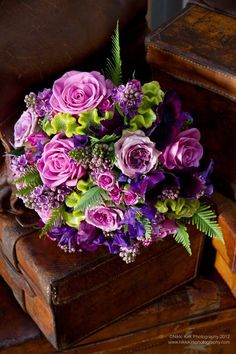 Shades of Lavender wedding flower bouquet, bridal bouquet, wedding flowers, add pic source on comment and we will update it. www.myfloweraffair.com can create this beautiful wedding flower look.