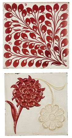 WILLIAM DE MORGAN (1839-1917)  TWO RUBY LUSTRE TILES, 1880S/1890S  comprising: a 'ROSE & DAISY' PATTERN TILE, no. 833, impressed maker's marks and painted 214; and a LEAF TILE, variant of the 'Oblique Leaf' pattern, impressed maker's marks and painted 194 (2)  15.3cm square Aesthetic Movement, Daisy Pattern, Tile Patterns, Trees To Plant, Makers Mark, Luster, Art Decor, Tiles, Auction