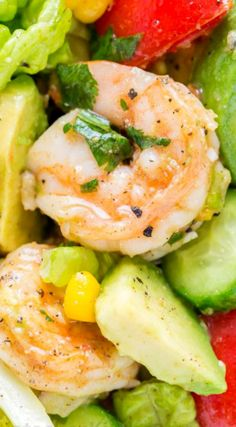 Avocado Shrimp Salad ~ With cajun shrimp and the best flavors of summer... The cilantro lemon dressing gives this shrimp salad incredible fresh flavor!
