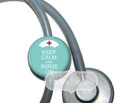 Stethoscope ID Tag  Name Badge Keep Calm and Nurse On Teal. $7.99, via Etsy.