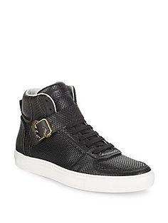 Roberto Cavalli Snake-Embossed Leather High Top Sneakers - Black - Siz