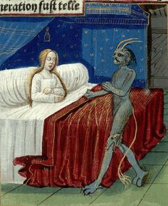 Paris, Bibliothèque Mazarine, Inc. 1286, f.008v. Lancelot en prose. 15th century. 'Conception of Merlin'.