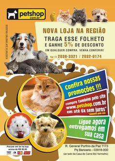 Folheto desenvolvido para loja fisica da Petshop.com.br