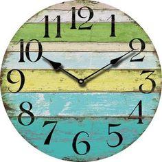 Rustic Wooden Wall Clock, Restored Wood, Beach, Farmhouse, Shabby Chic