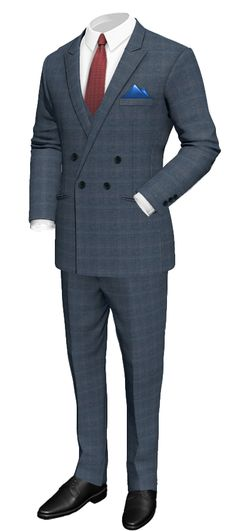 Blue 3-Piece checked 100% Wool Suit http://www.tailor4less.com/en/men/suits/2303-blue-3-piece-checked-100-wool-suit