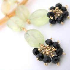 Lemon Tonic Prehnite and Onyx Earrings by Finch and Flower on Etsy, $38.00