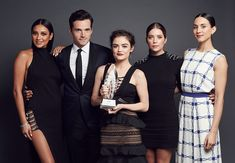 The Cast of 'Pretty Little Liars' Shay Mitchell Ian Harding Lucy Hale Ashley Benson and Troian Bellisario pose for a portrait at the 2016 People's...