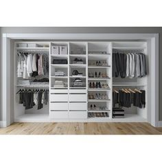 Shop Closet & Co L Custom Closet System - Overstock - 30749396 - Brown Gardet Wardrobe Room, Wardrobe Design Bedroom, Master Bedroom Closet, Bedroom Closets, Bed In Closet, Ikea Walk In Wardrobe, Master Closet Layout, Closet Rooms, Master Closet Design