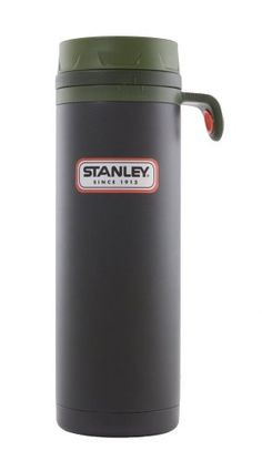 Stanley Outdoor Vacuum Drink-Thru Bottle 16 ounce/  473ml.  $29  Keep an eye out for deals on this gem.  It's tall, but narrow enough to fit in your car's cup holder.  It has a lockable twist-open lid that makes it easy to sample your coffee (or my hot cider) in the morning without having to do the thermos dance.  Best of all, the steel handle has a reinforced hole that accomodates a full-size carabiner (that I keep chained to my laptop bag).  Hate the price, love the implementation.