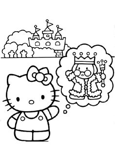 Dreaming Hello Kitty Coloring Pages
