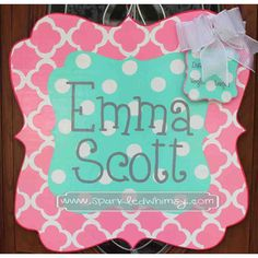 Personalized Quatrefoil Baby Sign For Hospital Door (Bright Pink/Turquoise) on Etsy, $45.00