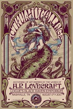 beautiful poster- Art inspired by Lovecraft #horror #scifi #fantasy #cthulhumythos #byroncraft #thecryofcthulhu #shoggoth #theInnsmouthLook #cthulhu'sminions #hplovecraft #arkham #Necronomicon #MiskatonicUniversity #innsmouth