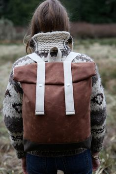 Wax Canvas Backpack - Weather Resistant - Blush Brown and Dark Tan. $150.00, via Etsy.