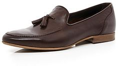 $100, Dark Brown Leather Tassel Loafers: River Island Dark Brown Leather Tassel Loafers. Sold by River Island. Click for more info: https://lookastic.com/men/shop_items/170316/redirect