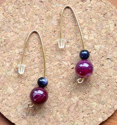 SALE:Earrings++red+Rhodolite,minimalist+style+from+Astrup+design+by+DaWanda.com