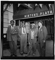 Hip Cats-Jazz legends Thelonious Monk, Howard McGhee, Roy Eldridge, and Teddy Hill in front of Minton's Playhouse in Harlem, N. Jazz Artists, Jazz Musicians, Roy Eldridge, Rock Indie, Bebop, Harlem New York, Swing, Thelonious Monk, Cool Jazz