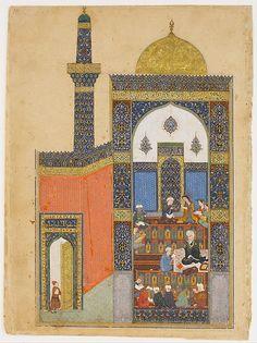 """Laila and Majnun at School"", Folio from a Khamsa (Quintet) of Nizami Calligrapher: Ja'far Baisunghuri (active first half 15th century) Author: Nizami (Ilyas Abu Muhammad Nizam al-Din of Ganja) (probably 1141–1217) Object Name: Folio from an illustrated manuscript Date: A.H. 835/ A.D. 1431–32"